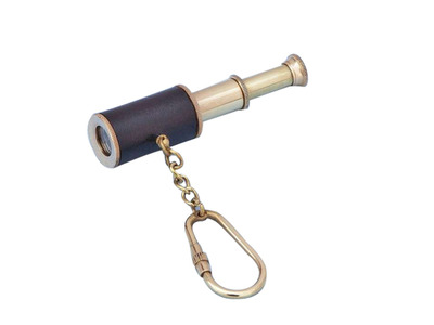 Solid Brass with Leather Spyglass Key Chain 4