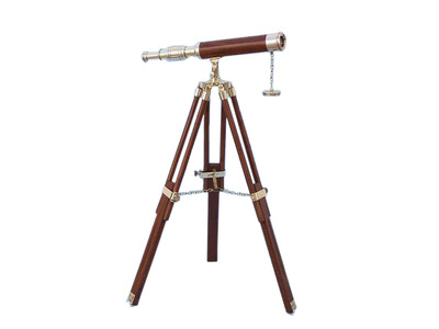 Floor Standing Brass-Wood Harbor Master Telescope 30 - Wood