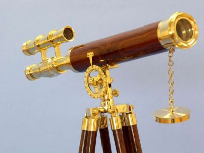 Floor Standing Brass-Wood Griffith Astro Telescope 44
