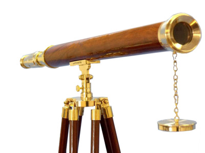 Floor Standing Brass - Wood Harbor Master Telescope 60""