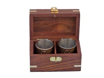 Antique Brass Anchor Shot Glasses With Rosewood Box 4\