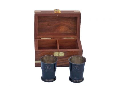 Oil Rubbed Bronze Anchor Shot Glasses With Rosewood Box 4\