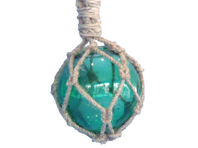 Glass and Rope Green Fishing Float 4
