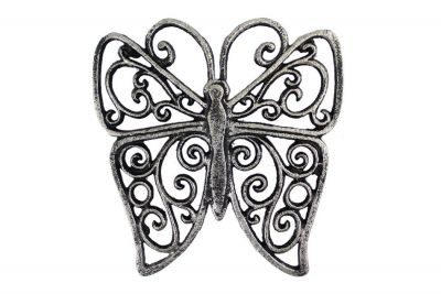 Rustic Silver Cast Iron Butterfly Trivet 8\