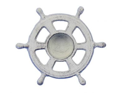 Whitewashed Cast Iron Ship Wheel Decorative Tealight Holder 5.5\