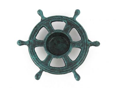 Seaworn Blue Cast Iron Ship Wheel Decorative Tealight Holder 5.5\