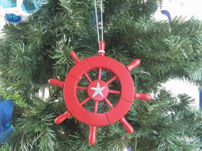 Red Decorative Ship Wheel with Starfish Christmas Tree Ornament 6""