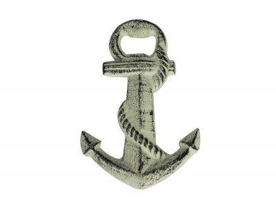 Whitewashed Cast Iron Anchor Bottle Opener 5\