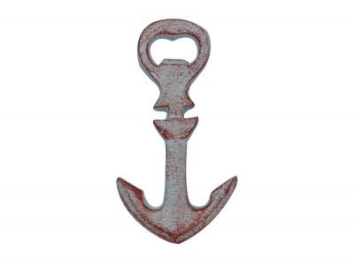 Rustic Red Whitewashed Cast Iron Anchor Bottle Opener 5