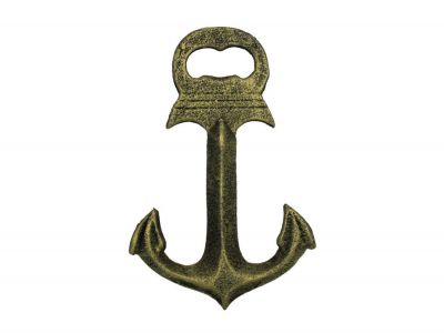 Rustic Gold Deluxe Cast Iron Anchor Bottle Opener 6\