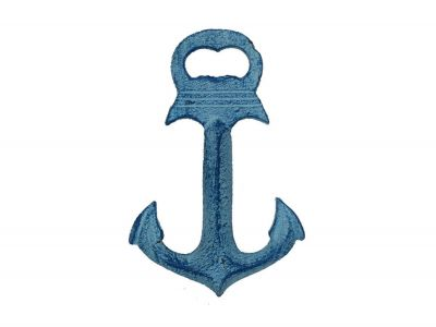 Rustic Dark Blue Whitewashed Deluxe Cast Iron Anchor Bottle Opener 6