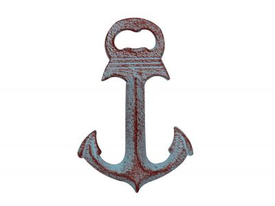 Rustic Red Whitewashed Deluxe Cast Iron Anchor Bottle Opener 6