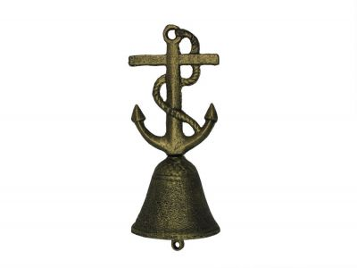 Rustic Gold Cast Iron Anchor With Rope Hand Bell 6""