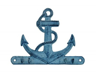 Rustic Dark Blue Whitewashed Cast Iron Anchor with Hooks 8""