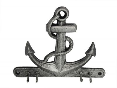 Rustic Silver Cast Iron Anchor with Hooks 8""