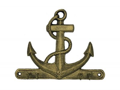Rustic Gold Cast Iron Anchor with Hooks 8\