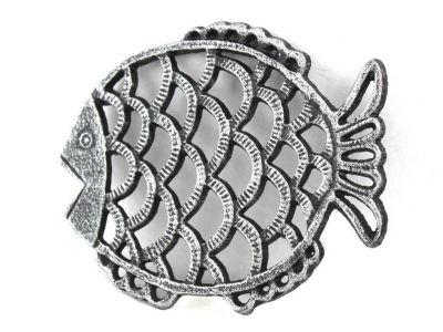 Antique Silver Cast Iron Big Fish Trivet 8\