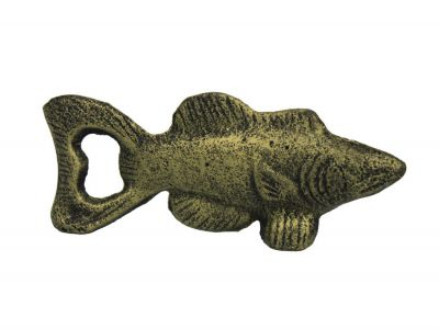 Rustic Gold Cast Iron Fish Bottle Opener 5""
