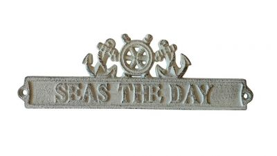 Whitewashed Cast Iron Seas the Day Sign with Ship Wheel and Anchors 9""