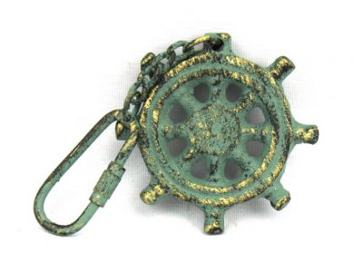 Antique Bronze Cast Iron Ship Wheel Key Chain 5""