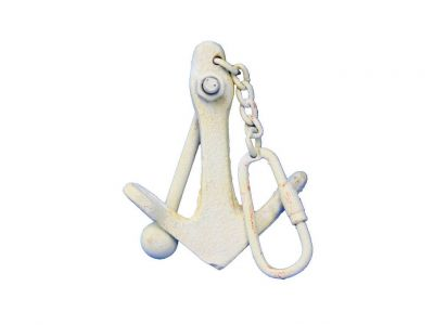 Antique White Cast Iron Anchor Key Chain 5""