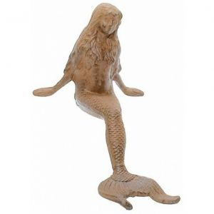 Rustic Cast Iron Leaning Mermaid 12