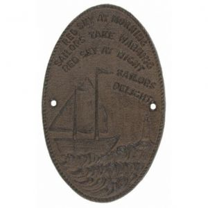 Rustic Cast Iron Sailboat Plaque 8