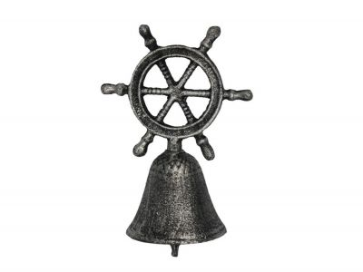 Rustic Silver Cast Iron Ship Wheel Hand Bell 6""