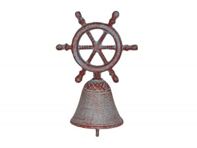 Rustic Red Whitewashed Cast Iron Ship Wheel Hand Bell 7""