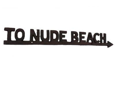 Rustic Cast Iron To Nude Beach Arrow Sign 23