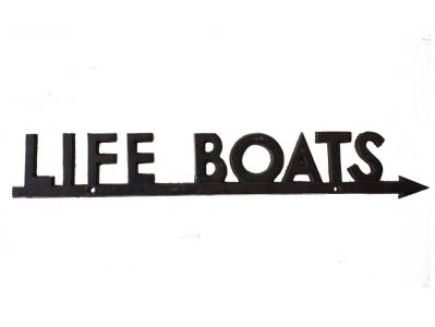 Rustic Cast Iron Life Boats Sign 24