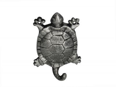 Rustic Silver Cast Iron Turtle Hook 6\