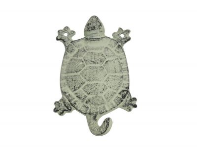 Whitewashed Cast Iron Turtle Key Hook 6\