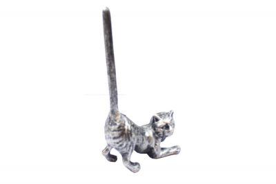 Rustic Silver Cast Iron Cat Paper Towel Holder 10\