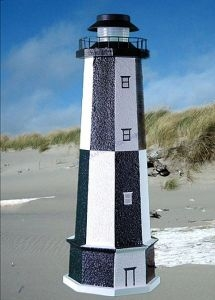 Cape Henry Stucco Solar Landscape Lighthouse w-Base 28