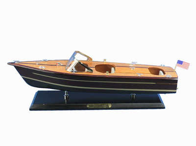Wooden Chris Craft Triple Cockpit Model Speedboat 20\