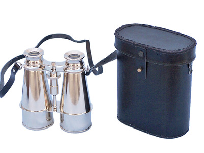 Captains Chrome Binoculars with Leather Case 6""