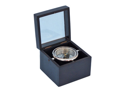 Chrome Lifeboat Compass with Black Rosewood Box 5