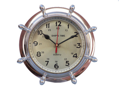 Chrome Double Dial Porthole Wheel Clock 8