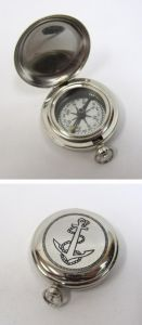 Chrome Dalvey Compass 2 with Engraved Anchor Lid