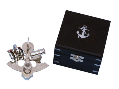 Scouts Chrome Pirate Sextant 4 with Black Rosewood Box