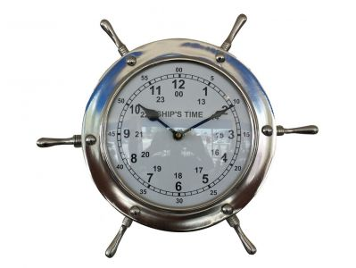Chrome Ship Wheel Clock 11