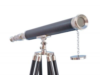 Floor Standing Chrome-Leather Harbor Master Telescope 60 with Black Wooden Legs