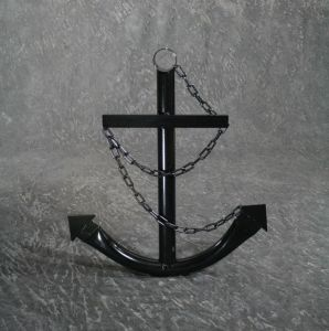 Steel Navy Boat Anchor with Chain 72 - Black