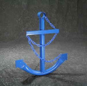 Steel Navy Boat Anchor with Chain 24 - Blue