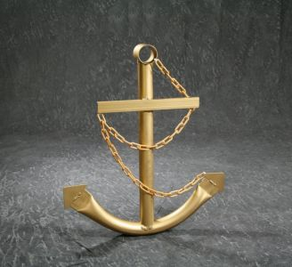 Steel Navy Boat Anchor with Chain 36 - Gold