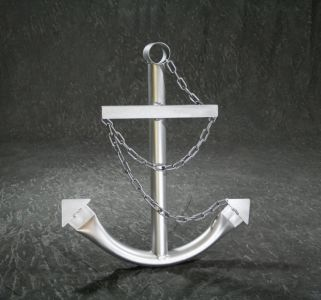 Steel Navy Boat Anchor with Chain 24 - Silver