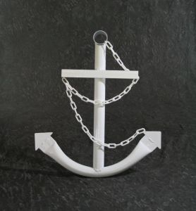 Steel Navy Boat Anchor with Chain 36 - White