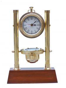 Brass Compass with Clock and Thermometer 15