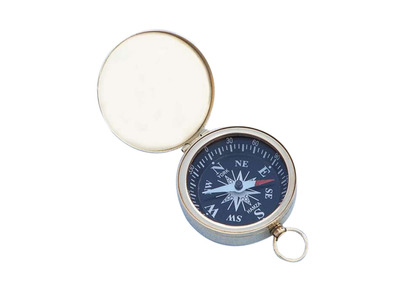 Brass Black Faced Compass w/Lid 2""